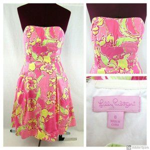 Lilly Pulitzer Strapless Pink Floral Sun Dress